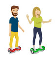 young couple riding gyroscope vector image