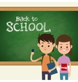 back to school boy and girl student and board vector image
