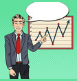 pop art businessman pointing growth graph vector image