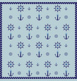 ship wheel anchor and rope abstract pattern vector image