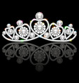 a shiny diadem female with heart and reflection vector image vector image