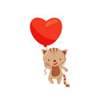 adorable cat holding bright red balloon in shape vector image vector image