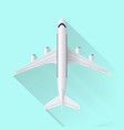 airplane icon on blue background with shadow vector image vector image