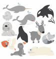 artic animals cartoon christmas set vector image vector image