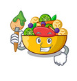 artist fruit salad in glass bowl cartoon vector image