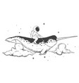 astronaut flying on narwhal vector image vector image