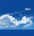 blue sky background with white transparent clouds vector image vector image