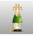 champagne with gold curly ribbon on transparent vector image