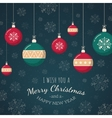 Christmas tree toys on snowflakes backdrop vector image vector image