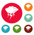 cloud thunder flash icons circle set vector image vector image