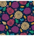 Colorful vibrant flowers on dark seamless pattern vector image vector image
