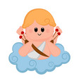 cute cupid boy icon with bow and arrows vector image