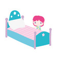 cute little boy cartoon and bed with pillow vector image