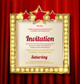 empty golden painting frame on red curtain wall vector image vector image