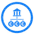 euro bank transactions rounded icon rubber stamp vector image vector image