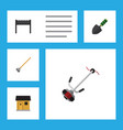 flat icon farm set of grass-cutter stabling vector image vector image