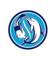 free diver and dolphin yin yang circle retro vector image vector image