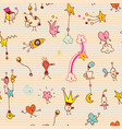 fun cartoon comic characters seamless pattern vector image vector image