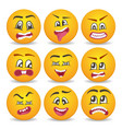 funny smileys 3d faces isolated set vector image