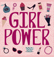 girl power with female accessories vector image vector image