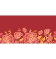 Gold and red flowers horizontal seamless pattern vector image vector image