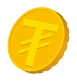 Gold coin with Mongolian Tugrik sign icon vector image vector image