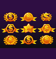gold templates dollar icons for awards creating vector image vector image
