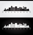 greensboro usa skyline and landmarks silhouette vector image vector image