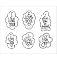 I love you hand drawn lettering inscription set vector image vector image