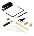 isometric office stationery set collection vector image vector image