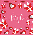 love inscription on pink background happy vector image