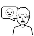 man with angry emoticon in speech bubble vector image vector image