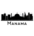 Manama City skyline black and white silhouette vector image vector image