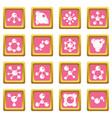molecule icons pink vector image vector image