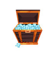 old open chest full of precious stones shiny blue vector image