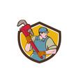 Plumber Running Monkey Wrench Crest Cartoon vector image vector image
