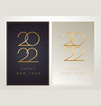 posh new year 2022 vertical cards design - dark vector image vector image