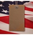 Price tag on American flag background vector image vector image