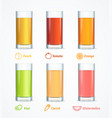 realistic detailed 3d different juice glass set vector image vector image