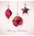 Red christmas balls with triangle filling vector image vector image