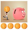 saving money into piggybank vector image vector image