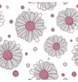 seamless chamomile pattern on white background vector image vector image