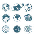 set icon earth global communication concept vector image