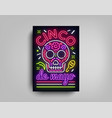 sinco de mayo poster design neon style template vector image