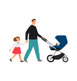 single father with daughter and baby vector image vector image