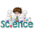 sticker design with scientist doing experiment vector image vector image