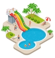 Summer fun at aqua park Child with parents on vector image vector image