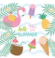 summer holiday poster set icons vector image vector image