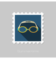 Swimming Goggles flat stamp Summer Vacation vector image vector image