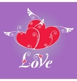 Two heart with wings for design template vector image vector image